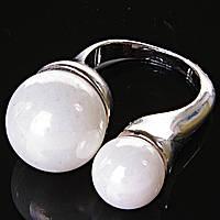 [17,18,19] Кольцо скоба 2 жемчужины