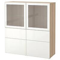 BESTÅ Стеллаж/стеклянная дверь, дуб bejcowany бело, Selsviken глянцевый белый матовое стекло