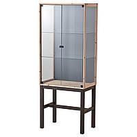 NORNÄS Шкафа/ стеклянные двери, сосна, серый