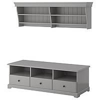 LIATORP Шкаф для ТВ, комбинация, серый