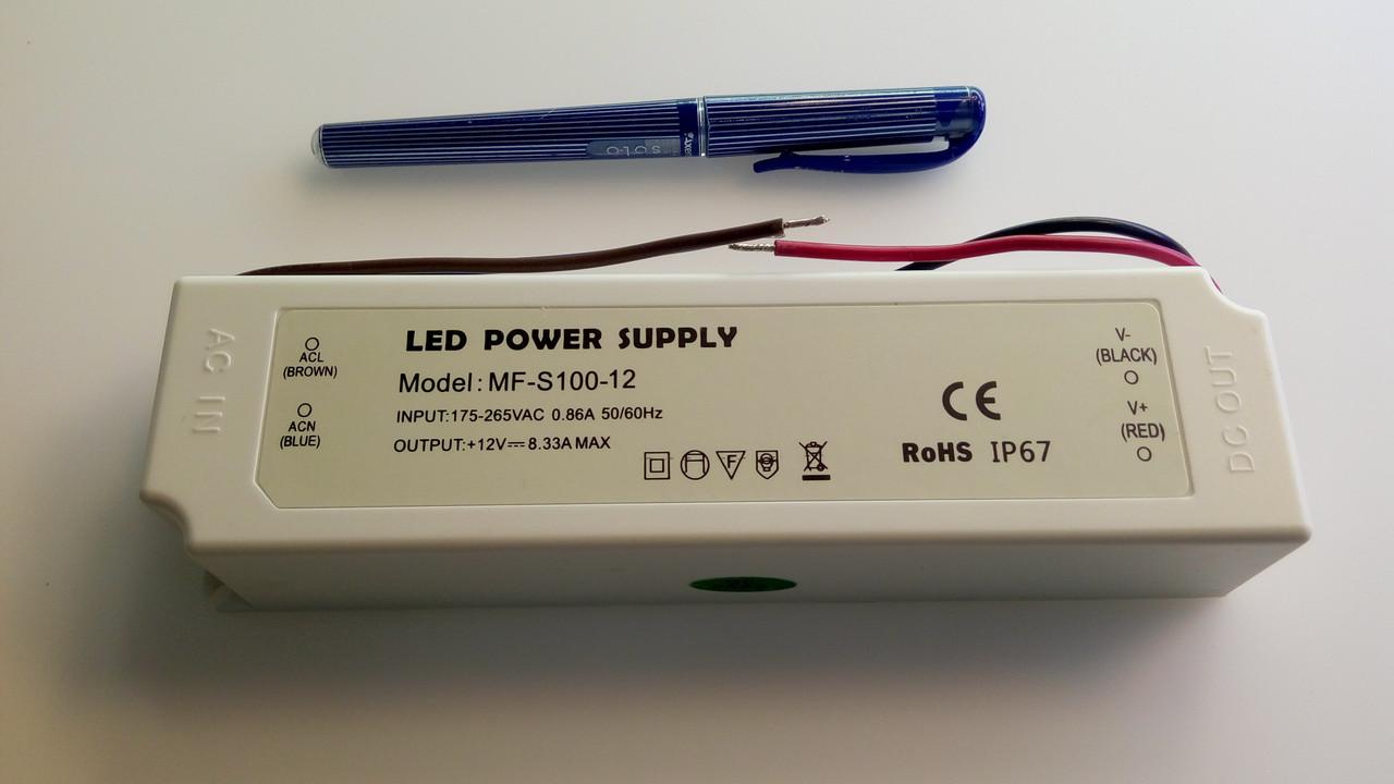 Блок питания герметичный для светодиодной ленты 12в 8,3А 100вт LEDLIGHT IP65 Plastic