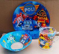 Детский набор посуды Робокар Поли (3 предмета)