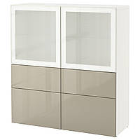 BESTÅ Стеллаж/стеклянная дверь, белый, Selsviken глянцевый/ бежевый матовое стекло