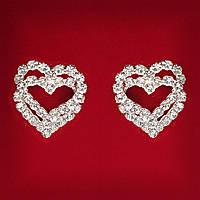 [20x20 мм] Серьги женские белые стразы светлый металл свадебные вечерние гвоздики (пуссеты) сердечки двойные средние