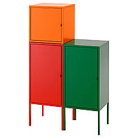 LIXHULT Книжный шкаф, красный/оранжевый, зеленый
