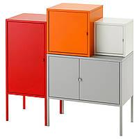 LIXHULT Комбинация д/хранения, серый/белый, оранжевый/красный