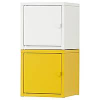 LIXHULT Комбинация д/хранения, белый, желтый