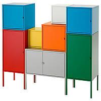LIXHULT Стеллаж, белый/зеленый/синий/желтый, красный/оранжевый/серый