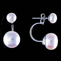 Серьги-пусеты Жемчуг, цвет металла серебро L-2 см