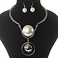 Колье кольцом + серьги Серебро и  Жемчужина со стальным шаром на жесткой основе