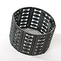 [45 мм] Браслет Таинства черный металл матовый на резинке со стразами широкий