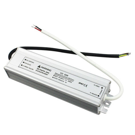 Блок питания герметичный для светодиодной ленты 12в 5А 60вт LEDLIGHT IP65, фото 2
