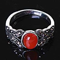 [17,18,19] Кольцо Сердолик черные стразы лепестки