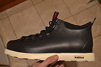 Зимние ботинки в стиле Native Shoes Fitzsimmons черные с белым кожа термопрокладка, фото 1