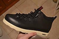 Зимние кроссовки в стиле Native Shoes Fitzsimmons черные с белым кожа термопрокладка