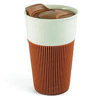Термокружка Fila керамическая с силиконовой накладкой, 480 мл, коричневая, от 100 шт