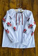 Детская хлопковая вышиванка 11 для девочки 4-14 лет (традиционная рубашка для ребенка) ТМ Глаздов Белый