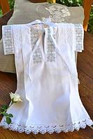 Красивая рубашечка крестильная с вышивкой 4 для девочки из хлопка ТМ Глаздов Белый