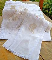 Красивый льняной набор для крещения 2в1 №2 (крыжма + крестильная рубашечка) ТМ Глаздов Белый