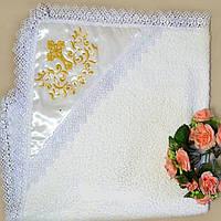Крыжма из махры для крещения с атласным капюшоном и вышивкой 7 (90х90 см) ТМ Глаздов Белый