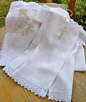 Льняной набор для крещения 2в1 №1 (крыжма + крестильная рубашечка) ТМ Глаздов Белый