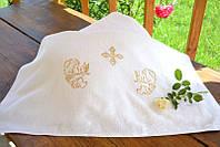 Махровая крыжма для крещения с вышивкой №8 (70*140 см) ТМ Глаздов Белый