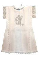Нарядная рубашечка для крещения №6 с вышивкой для ребенка из хлопка ТМ Глаздов Белый