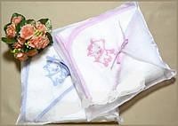 Подарочное махровое полотенце для новорожденных с капюшоном ТМ Глаздов Голубое