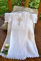 Торжественная льняная рубашечка для крещения 11 с вышивкой для ребенка ТМ Глаздов Белый