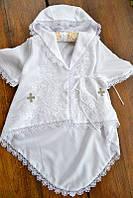 Торжественная нарядная рубашечка-халатик 2в1 для крещения 8 девочке ТМ Глаздов Белый