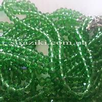 6мм рондели зеленые  90-100шт/низке (Хрустальные рондели)