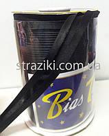 1,5см косая-бейка черная 1боб (Окантовочная атласная бейка)