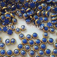 4мм полужемчуг синий в оправе 100шт (Полужемчуг керамика)