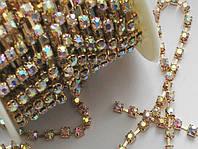 Стразовая цепь золото/ crystal_АВ ss10 (Стразы стекло)