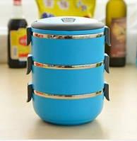 Ланч-бокс Easy lock 2,1 литра, термо ланч бокс из нержавеющей стали, ланч бокс для обедов, контейнер для еды