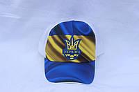 Кепка однотонная с логотипом Украина, сетка 001