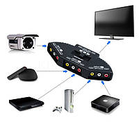 3х канальный переключатель селектор AV сигнала RCA (тюльпан)+кабель RCA