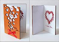 """Открытка ручной работы  """"Люблю тебя.Много сердечек"""" сувенир на день Святого Валентина"""