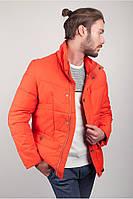 Мужская зимняя куртка на пуху оранжевая спортивная 225KF054 (мужская зимняя одежда, пуховик)