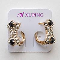 Серьги Xuping позолота 18К черные и белые камни английский  замок