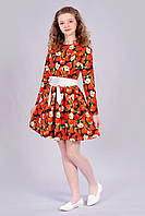 Яркое детское платье с принтом яблоки