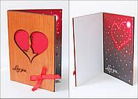 """Открытка из дерева   """"Влюбленные"""" сувениры для любимых"""