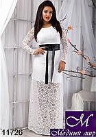 Женское белое гипюровое платье в пол  (48, 50, 52, 54) арт. 11726