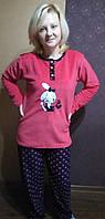 Пижама флисово-велюровая с длинным рукавом ,доставка по Украине