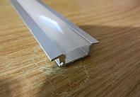 Алюминиевый профиль для светодиодной ленты врезной LD-1 + Линза