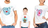 """Комплект футболок для всей семьи """"Леечки и цветочек"""""""
