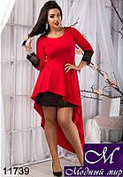 Шикарное красное женское платье (48, 50, 52, 54) арт. 11739