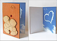 """Оригинальные открытки из дерева """"Мишки"""""""