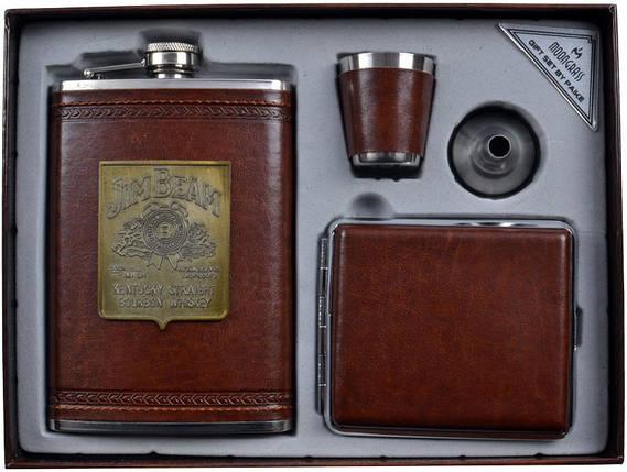 Подарочный набор с флягой для мужчин Jim Beam (фляга,портсигар,стопка,лейка) AL704, фото 2