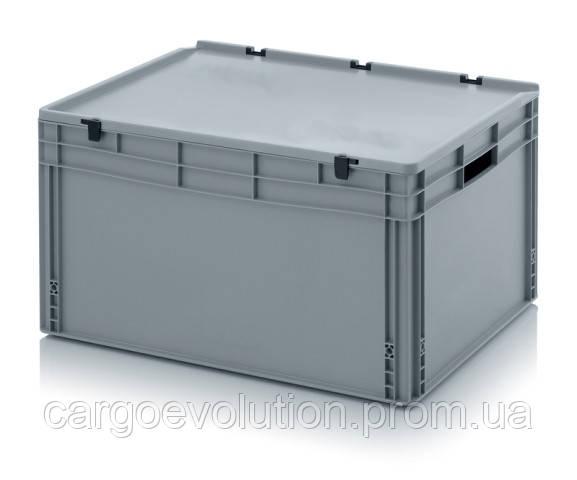 Пластиковый ящик для транспортировки 800 х 600 х 440 серый